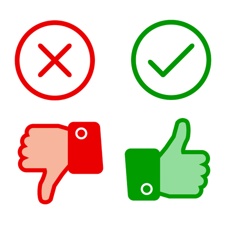 Up and down index finger with check mark and cross - stock vector Иллюстрация