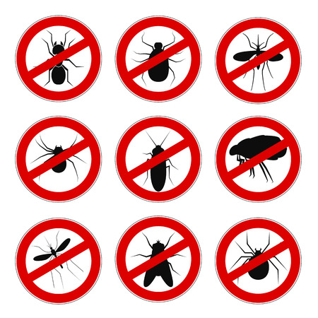 Set sign ban anti mosquito - vector for stock Illustration