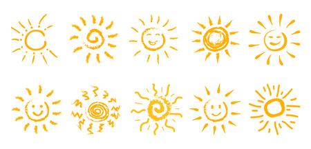 Set of drawn sun icons