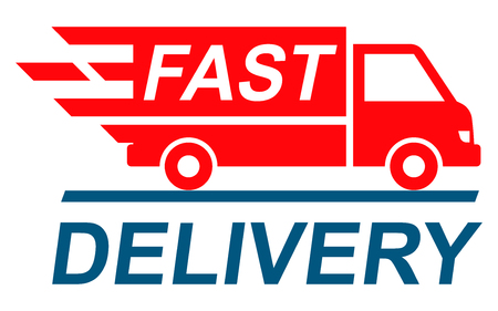Fast shipping delivery truck, shipping service - stock vector