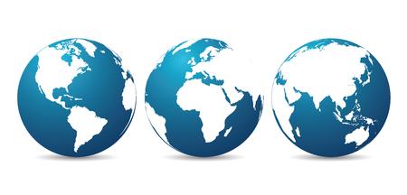 大陸を持つ地球儀 - ベクトル  イラスト・ベクター素材