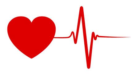 Heart pulse, one line, cardiogram - vector for stock Ilustração