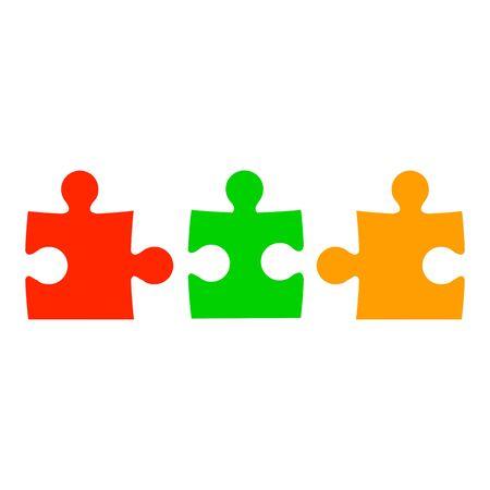 Three color puzzle - stock vector