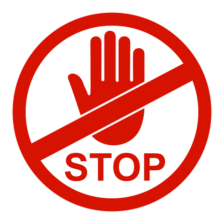 Stop sign icon with hand in circle - vector
