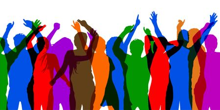 Colorful party people - vector