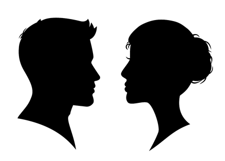Man and woman silhouette face to face - stock vector