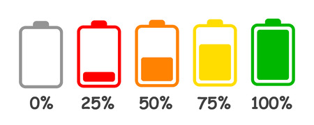 Set of battery charge level indicator in percent - stock vector Vettoriali