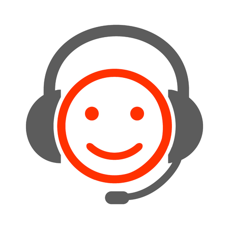 Positive dispatcher smilies, happy smiley emotion, by smilies, cartoon emoticon - vector Illustration
