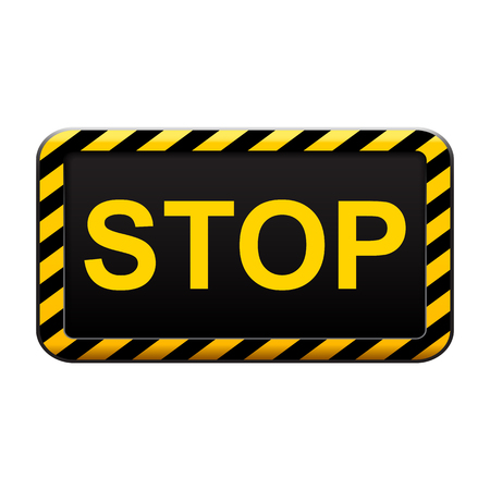 Warning yellow sign stop - stock vector