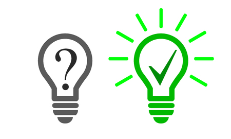 Light bulb icons with Question mark and check mark