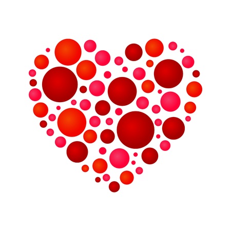 Heart composed of circles icon