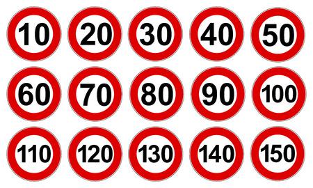 Définir les signes d'icône de limite de vitesse