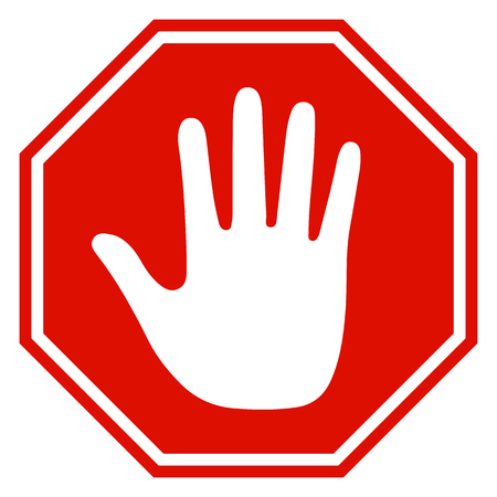 Stop sign icon with hand - vector for stock 일러스트