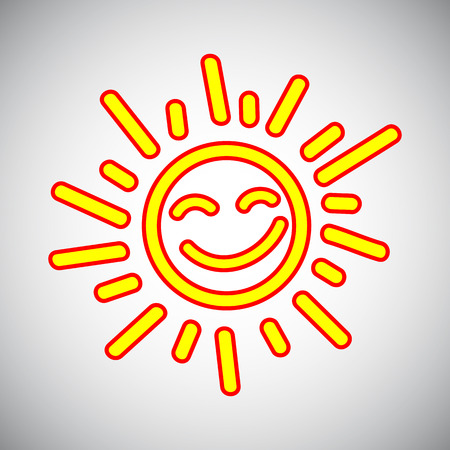 Drawn sun icons number 5 - stock vector