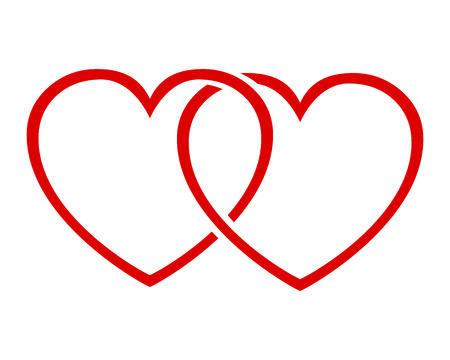 Two red heart stock vector illustration.