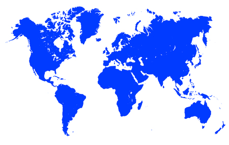 Blue world map stock vector.