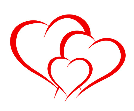 Three beautiful hearts - stock vector