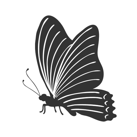Butterfly stencil by hand drawing - stock vector Иллюстрация