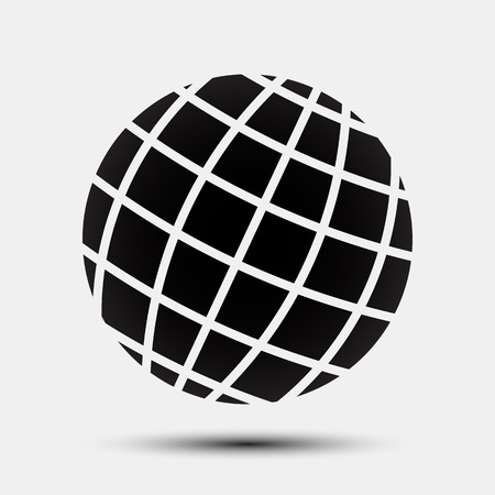 Black globe vector for stock.