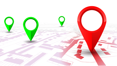 Red and green GPS navigator pointer on city map, from place to place vector for stock.