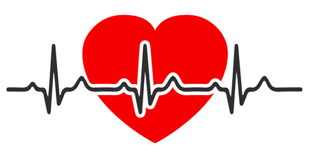 Heart pulse, one line, cardiogram, heartbeat vector for stock illustration.