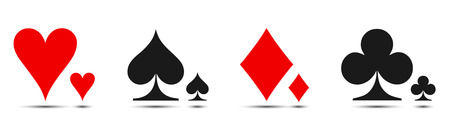 Colored card suit icon vector, playing cards symbols - vector