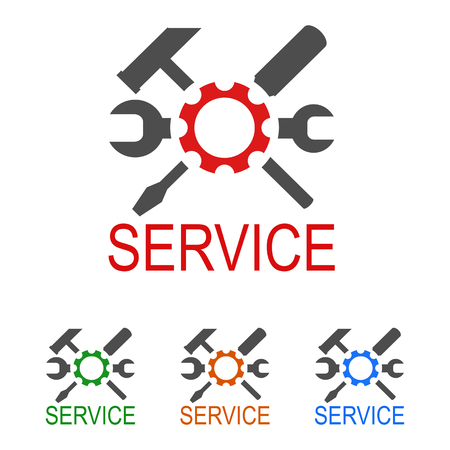 Logo service with key, screwdriver and hammer - stock vector