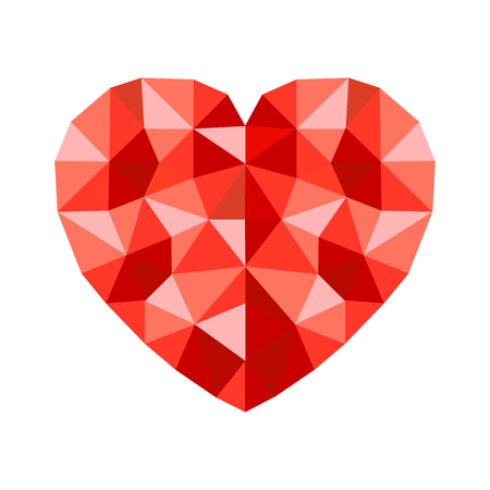 Polygonal red heart - for stock