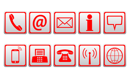 Red contact icons - stock vector