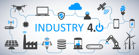 Industry 4.0 infographic factory of the future – stock vector