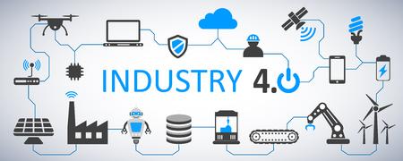 Usine d'infographie de l'industrie 4.0 du futur - stock vector Vecteurs