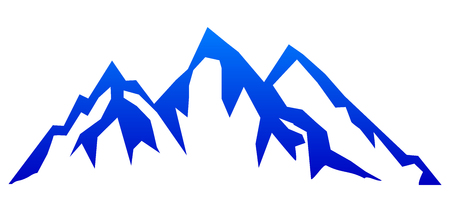 Silhouette blue mountain with three peaks on white background – for stock Stock Illustratie