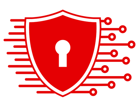 Protection shield technology icon, cyber security for web – stock vector