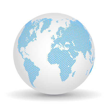 Blue globes with continents - stock vector Illustration