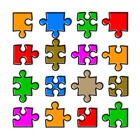 Sixteen color puzzle vector. Иллюстрация