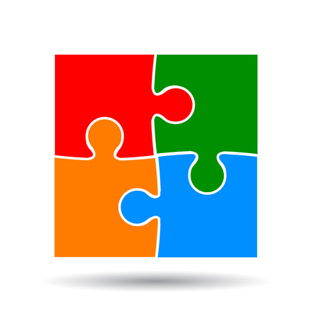 Group of four color puzzle vector.