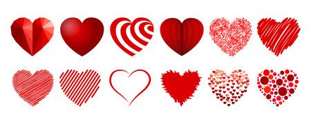 Set of twelve hearts - stock vector