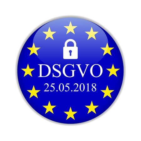 General Data Protection Regulation, in german: Datenschutz Grundverordnung (DSGVO) – for stock Иллюстрация