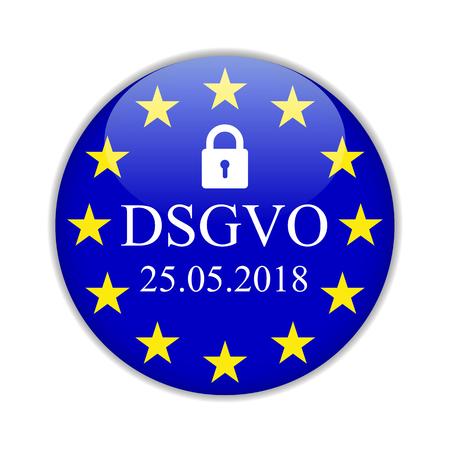General Data Protection Regulation, in german: Datenschutz Grundverordnung (DSGVO) – for stock Illustration