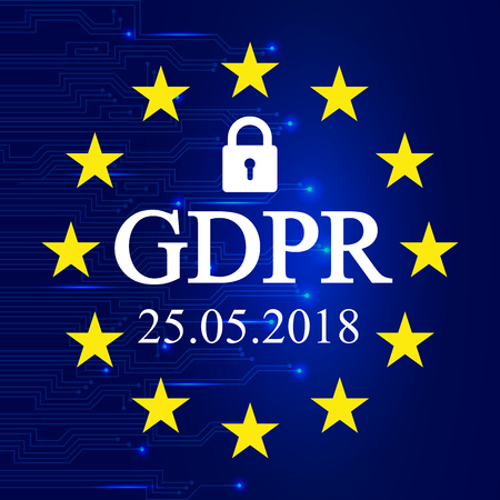 General Data Protection Regulation (GDPR). EU flag – stock vector Иллюстрация