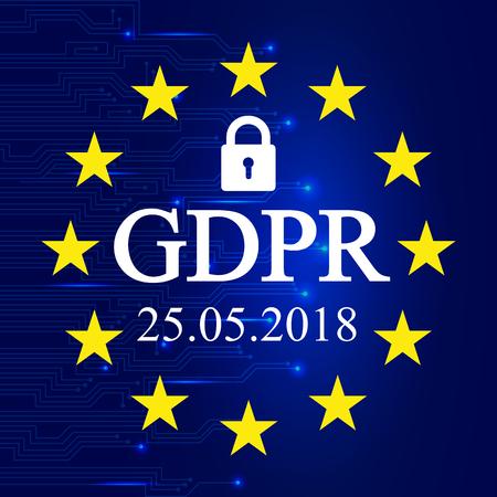 General Data Protection Regulation (GDPR). EU flag – stock vector Illustration