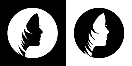 Silhouette hair girl, salon logo – vector