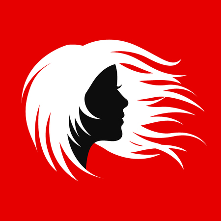 Silhouette hair girl, salon logo – for stock Çizim