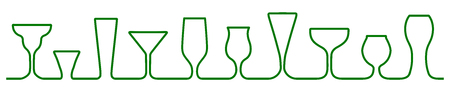 Bar glasses one line icons set. Wine glass, cups, mugs – vector