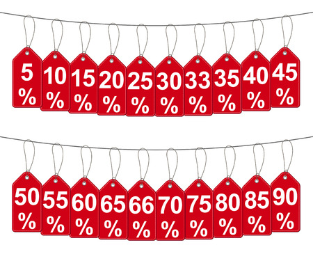 Set of hanging red discount percent - stock vector