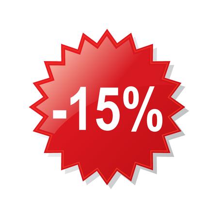 Discount 15 percent - stock vector