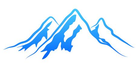 Silhouette mountain on white background - vector Illustration