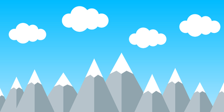 Silhouette mountain with cloud - stock vector Illustration