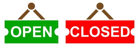 Open and closed signboard - stock vector Standard-Bild - 101291323