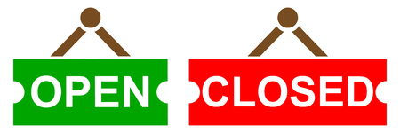 Open and closed signboard - stock vector